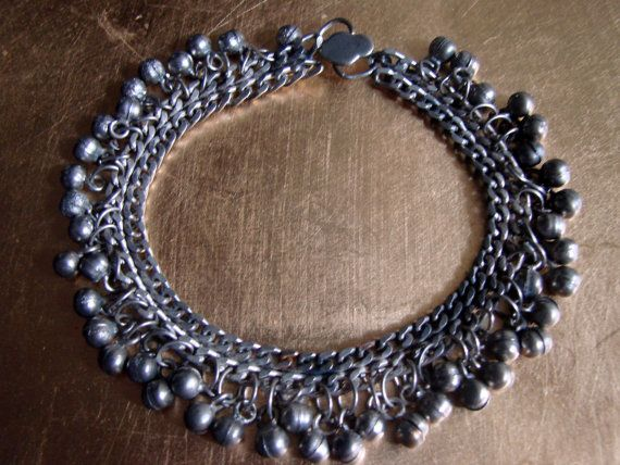 Vintage Old Silver Indian Anklet by AntiqueAlchemists on Etsy, $50.00