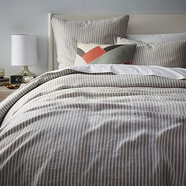 Striped Belgian Linen Duvet Cover + Shams #westelm. $249.  Pale green, or grey.  See customer-submitted pale green photo on WestElm web page.