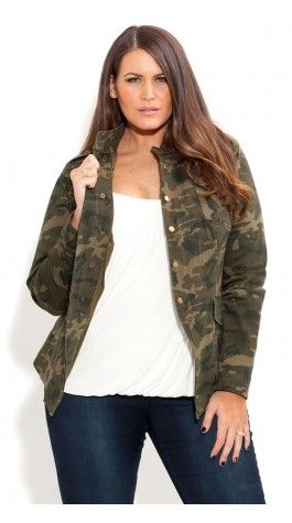 """Camo Jacket, White Camisole, Skinny Jeans, add a pair of cute boots. fall outfit  #thick  #curvy  """"if you like my curvy girl's fall/winter closet, make sure to check out my curvy girl's spring/summer closet.""""   http://pinterest.com/blessedmommyd/curvy-girls-springsummer-closet/pins/"""