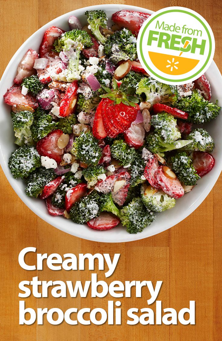 This summer salad has it all: the light sweetness of fresh strawberries, the satisfying crunch of broccoli, and the creamy tang of Greek yogurt. It is so good!
