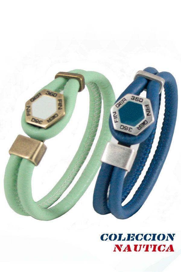 #Pulsera #Brazalete #Complemento #ideal #mujer #Coleccion #nautica #cuero #autentico #azul #verde #vespa  #plateado #cuerda #redonda #Finger360