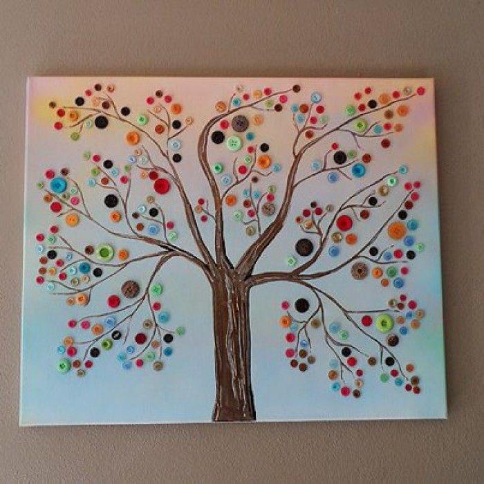 de leukste ideeën wat je met (oude) knopen kunt doen - boom met oude knopen