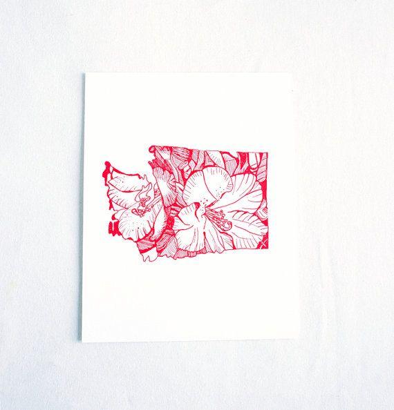 Letterpress Washington Coast Rhododendron by thimblepress on Etsy, $25.00