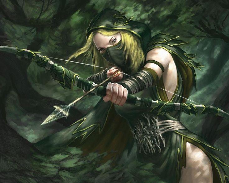 leer of linten om arm gewikkeld, of armbanden combineren  http://www.pinstopin.com/skyrim-wood-elf-ranger/