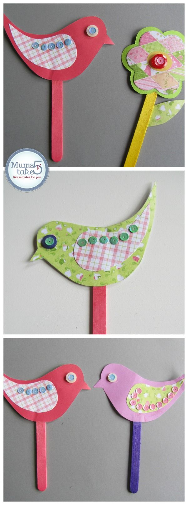 Spring Craft For Kids  Paper Birds and Flowers  Beautiful and Fun Crafts for Fine Motor Skills