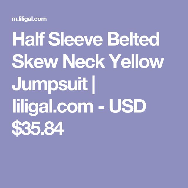 Half Sleeve Belted Skew Neck Yellow Jumpsuit   liligal.com - USD $35.84