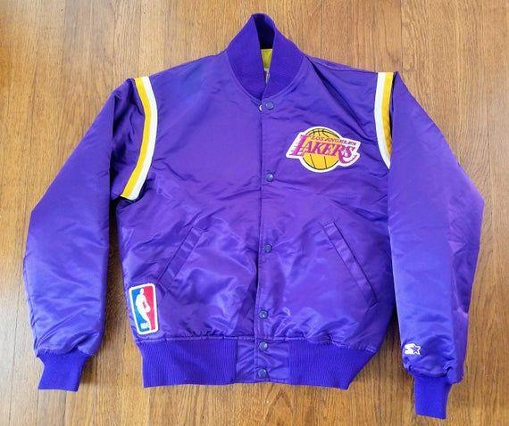 Los Angeles Lakers Vintage Starter Jacket M Rare Purple Satin Nba 90s Kobe Magic Lakers Jacket Jackets Atlanta Falcons Vintage