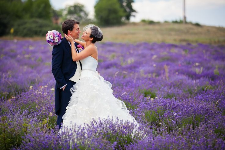 Reni in a fluffy wedding gown at a beautiful lavender field