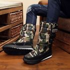 Mens Camouflage Thicken Mid Calf Boots Winter Snow Warm Shoes Waterproof