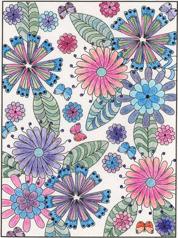 Cynthia Bowman (18+ division) from 3-D Coloring Book - Floral Designs: http://store.doverpublications.com/0486489337.html