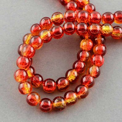 """Spray Painted Crackle Glass Beads Strands, Round, Tomato Red, 6mm; Hole: 1.3~1.6mm, 31.4""""   #060 by SkylineBeads on Etsy"""