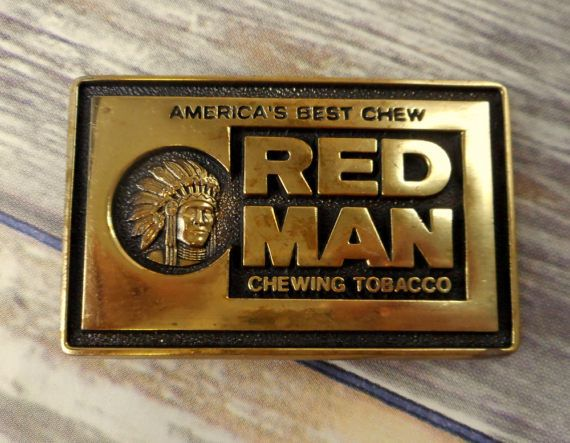 Red Man Belt Buckle Chewing Tobacco Indian by honeyblossomstudio