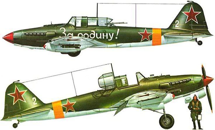 Ilyushin IL-2 Sturmovik, caça de ataque ao solo e protecção de bombardeiros, entrou ao serviço em 1941, fabrico URSS, serviu na força área da URSS. saber mais em https://pt.wikipedia.org/wiki/Ilyushin_Il-2