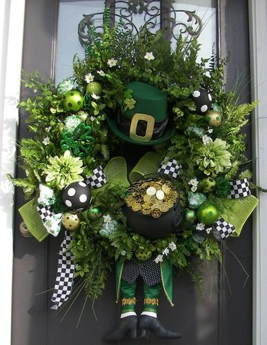 Petals and Plumes On eBay | St. Patricks Day Wreath XXL Floral Custom OOAK READY TO SHIP