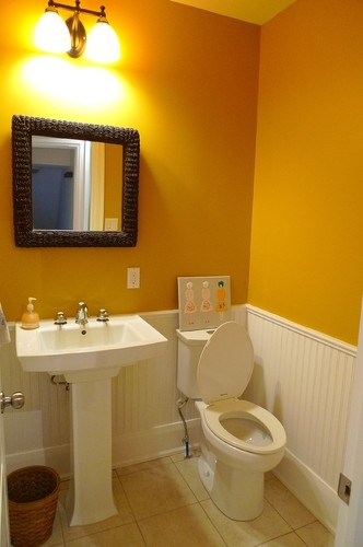 Hall bathroom mustard yellow and could add wainscoting for Hall bathroom ideas
