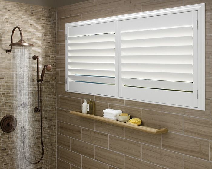 Lustrous, radiant, durable, even in tropical or moist conditions like a bathroom.  Palm Beach™ polysatin shutters ♦ Hunter Douglas window treatments