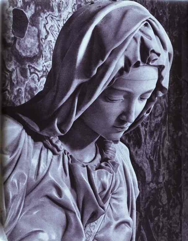 Close up of the Pieta sculped by Michaelangelo, displayed in St. Peter's Bacilica in Rome, Italy.