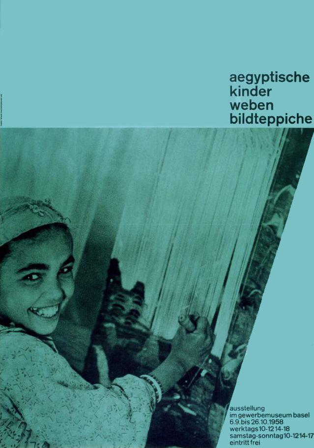 Emil Ruder, Aegyptische Kinder weben Bildteppiche - exhibition in Basel, 1958