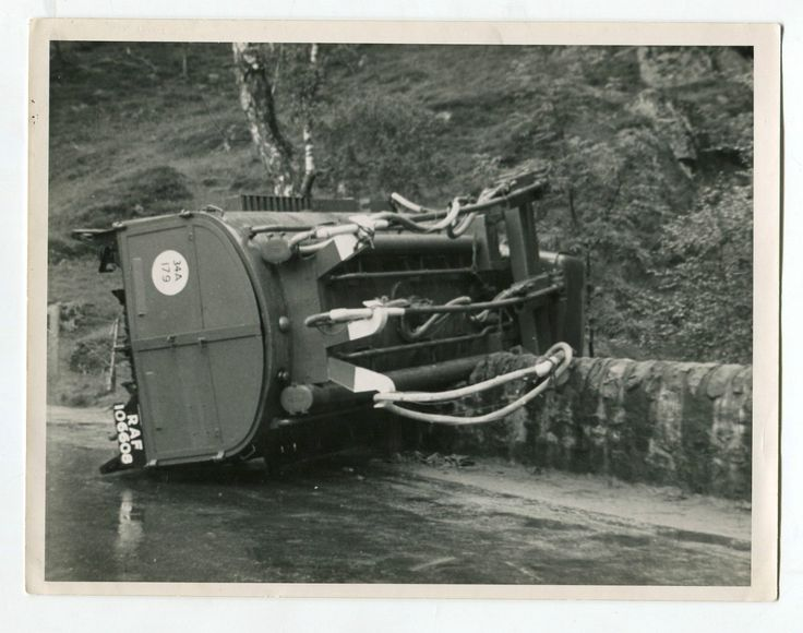 Photograph Of Overturned Bedford Ql Refuelling Truck Raf