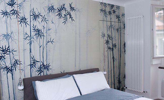 Modern chinoiserie 'Bamboo Forest' design from Misha wallpaper, Pearl Grey dyed silk.