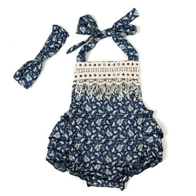 Dew Drop Ruffle Romper + Headband