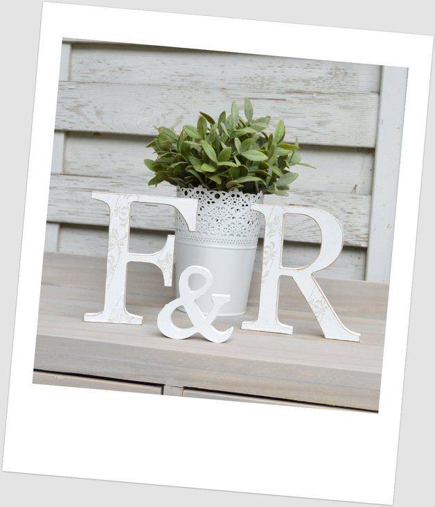Hochzeitsdeko - Hochzeitsgeschenk, XL Buchstaben, Shabby chic - ein Designerstück von hrcreative bei DaWanda
