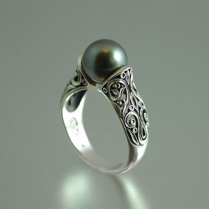 The ENCHANTED Tahitian Pearl 14K white gold ring by WingedLion