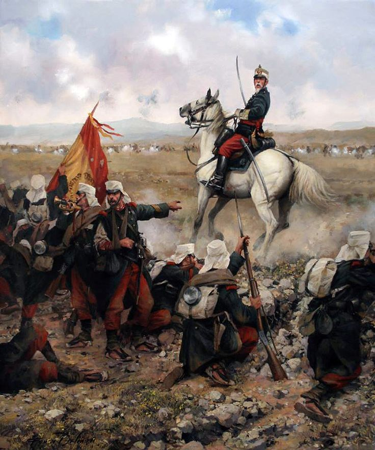 ¡Adelante, Viva España! Primera Guerra del Rif, defensa de Melilla 1893. Artista Augusto Ferrer Dalmau. Más en www.elgrancapitan.org/foro