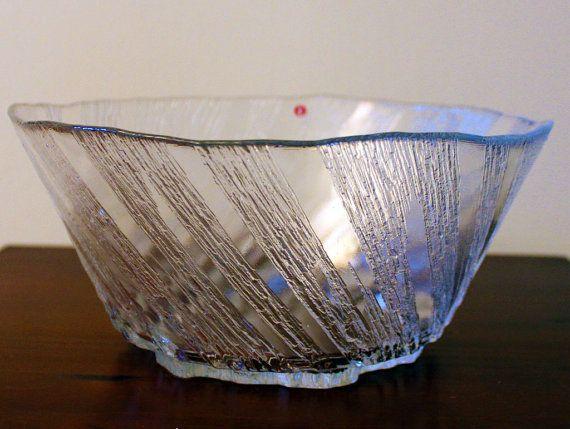 "Vintage Glass ""Kuura"" Bowl Designed by Tapio Wirkkala for Iittala - Quite Rare"