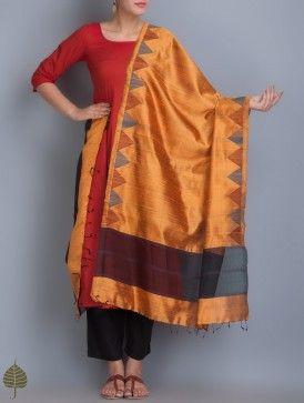 Rust Handloom Silk Dupatta by Jaypore
