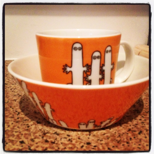 Arabia Moomin 'Hattifatteners' mug and bowl.
