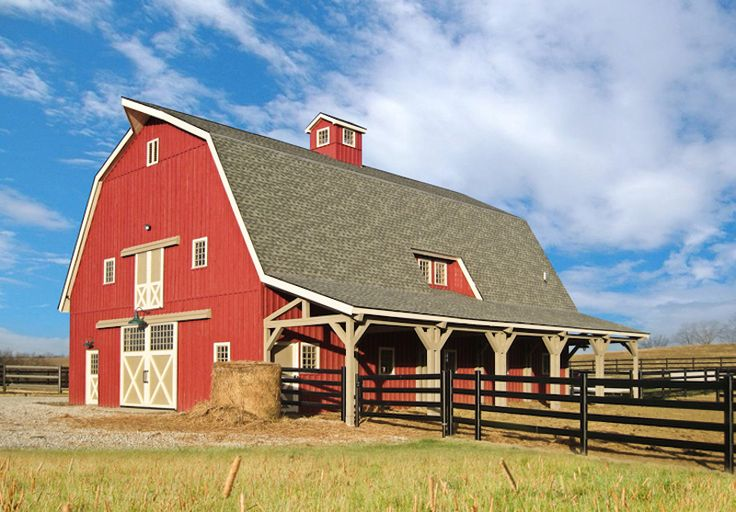This 40×60 Great Plains Gambrel Barn from Sand Creek Post & Beam features 12ft lean-tos and a cupola.