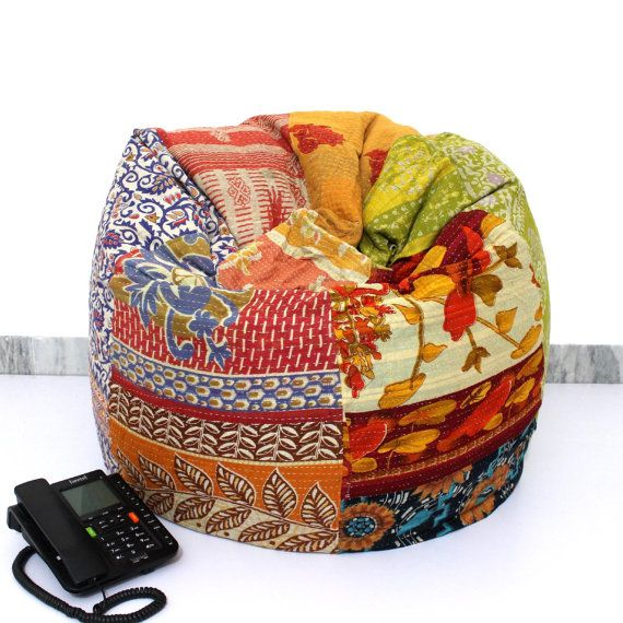 Handmade Quilted Cotton Floral Bohemian Bean Bag by RuralCraft