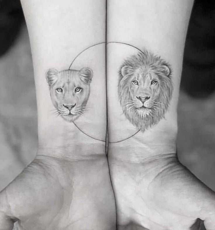 Couple lion & lioness tattoo