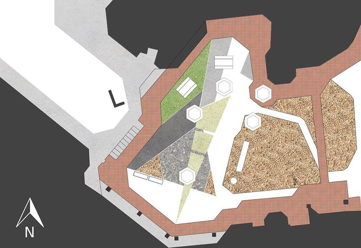 Site analysis of existing materials, furniture and vegetation.