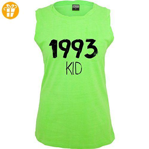 Geburtstag - 1993 KID - S - Neon Grün - TB702 - ärmelloses Damen T-Shirt mit Brusttasche (*Partner-Link)