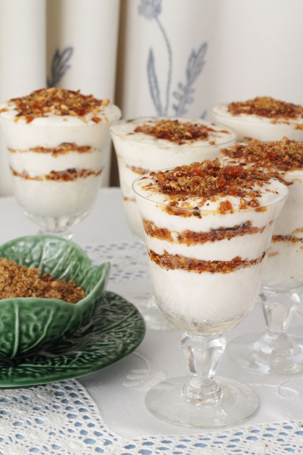 Ricotta and Pear Mousse with Almond Praline