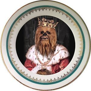 King of Wookies Plate - Altered Antique Porcelain Plate - Collectors Item - Art