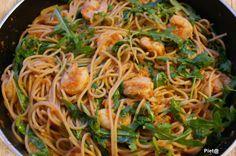 Spaghetti met garnalen en rucola van Jamie Oliver