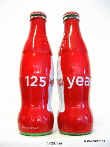 Coca-Cola 125 Years wrapped glass bottles sold at the Coca-Cola Store Las Vegas