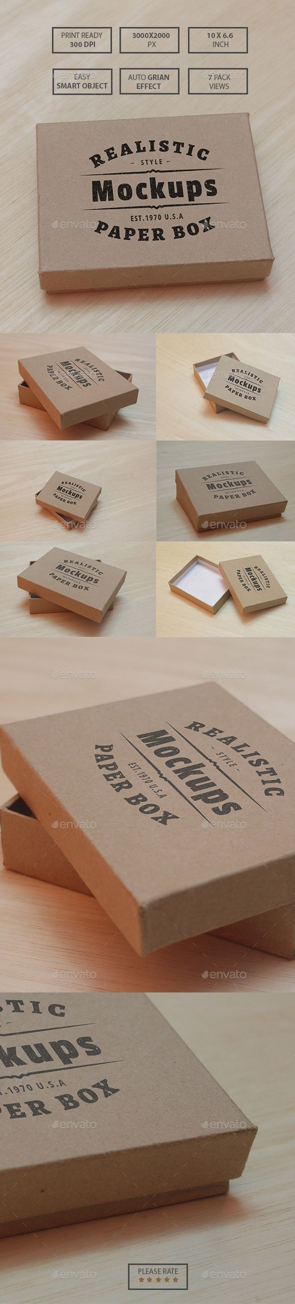 Paper Box Realistic Mockups — Photoshop PSD #vintage #eco • Available here → https://graphicriver.net/item/paper-box-realistic-mockups/13964771?ref=pxcr