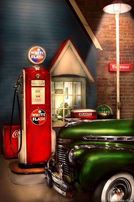 Car - Station - White Flash Gasoline | by Mike Savad with Pin-It-Button on #fineartamerica