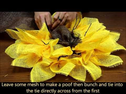 http://www.pinterest.com/dpd037/wreaths/ ▶ Sun Flower (Paper Mesh) - YouTube