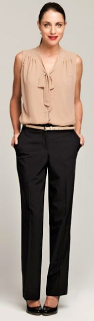 Outfit Posts: outfit post: beige flutter sleeve blouse, black editor pants, black patent wedges, gold belt