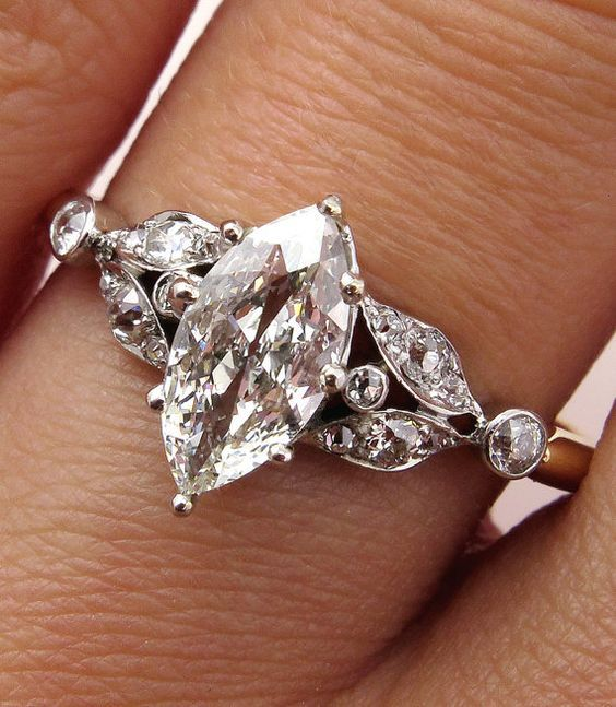Antique Victorian French 1.00ct Old European Marquise Cut  Diamond Engagement 18k Ring