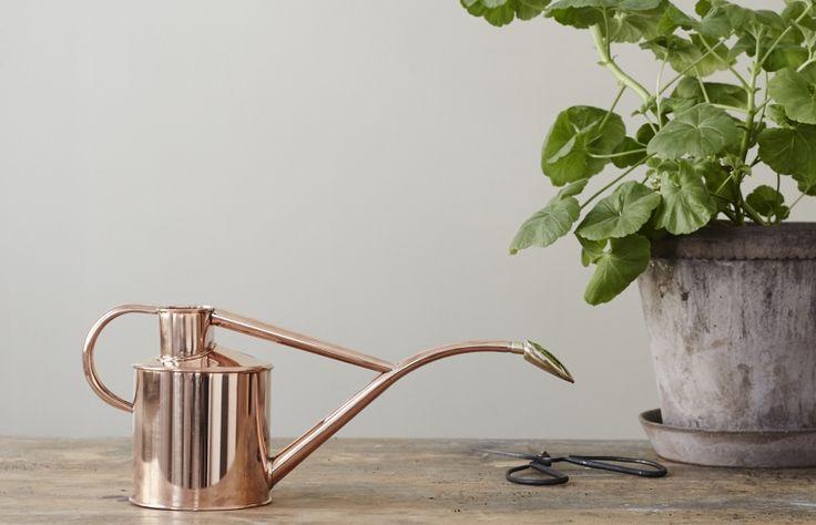 En smidig och stilfull vattenkanna för inomhusbruk. Kannan är helt i koppar med ett munstycke i mässing.