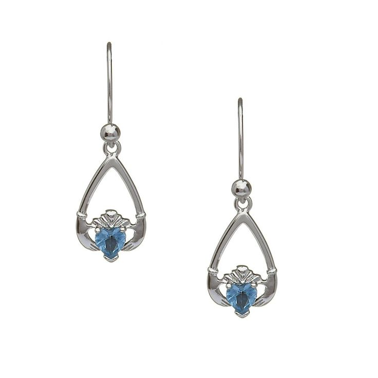 December Birthstone Claddagh Earrings - Claddagh Birthstone Jewelry - Rings from Ireland-Blue Topaz: Wealth