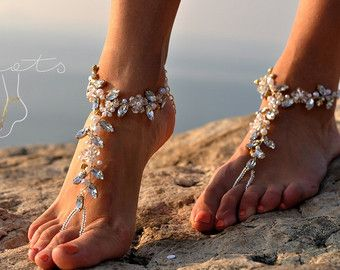 Beach Wedding Barefoot SandalsBridal Foot by BeNelipots on Etsy