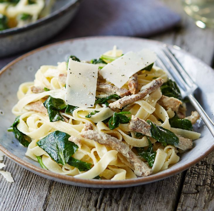 This simple, throw-it-all-together pasta dish is perfect for making the most of leftover pork, combining it with fragrant spinach and creamy mascarpone. | Tesco