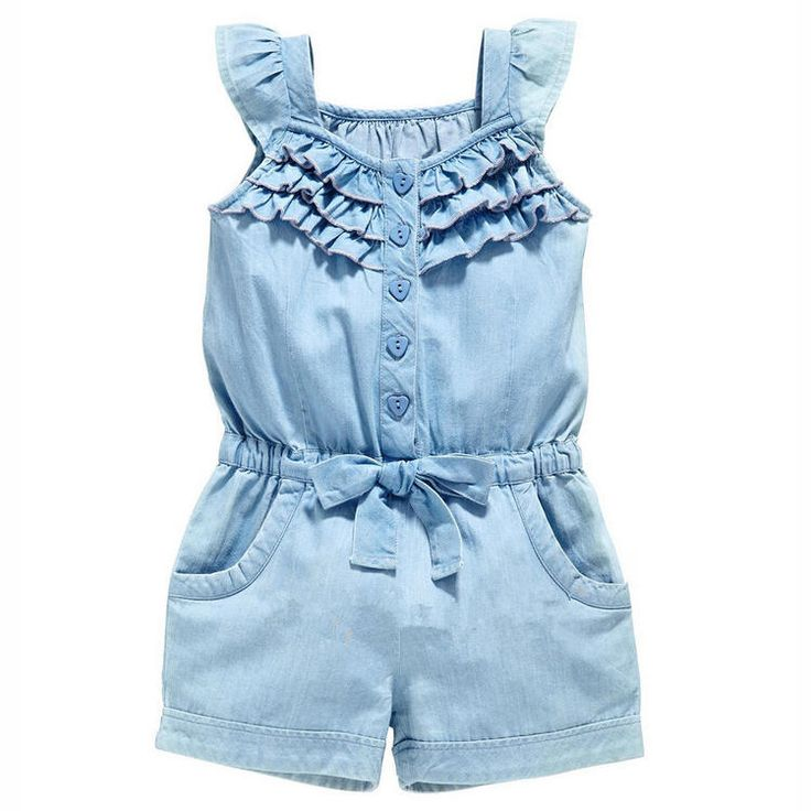 Toddler Girls Ruffled Denim Jumper Light Blue Wash Worn  So cute!! Bow Beach Summer Pics Photo